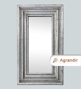 Petit miroir ancien argenté bois mouluré