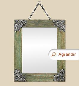 Petit miroir ancien bois coloré décor Art Nouveau métal