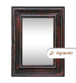 Petit miroir ancien d'époque 1880 imitation bois d'acajou foncé