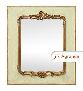 Petit miroir ancien romantique style Louis XV doré et vert