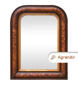 Petit miroir ancien style Louis Philippe décor imitation bois de loupe